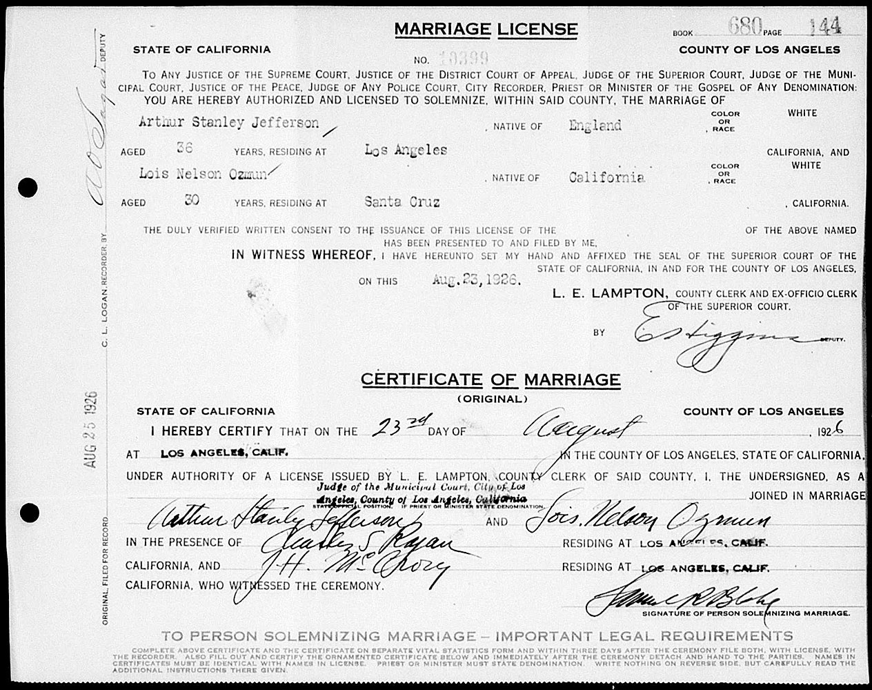 Marriage License Between Stan Laurel and Lois Neilson