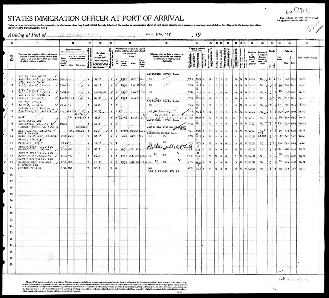 Honolulu to Los Angeles Ship Manifest - April 25, 1931