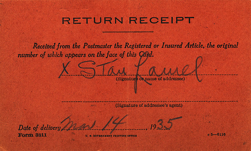 Return Receipt Seigned by Stan Laurel - March 14, 1935