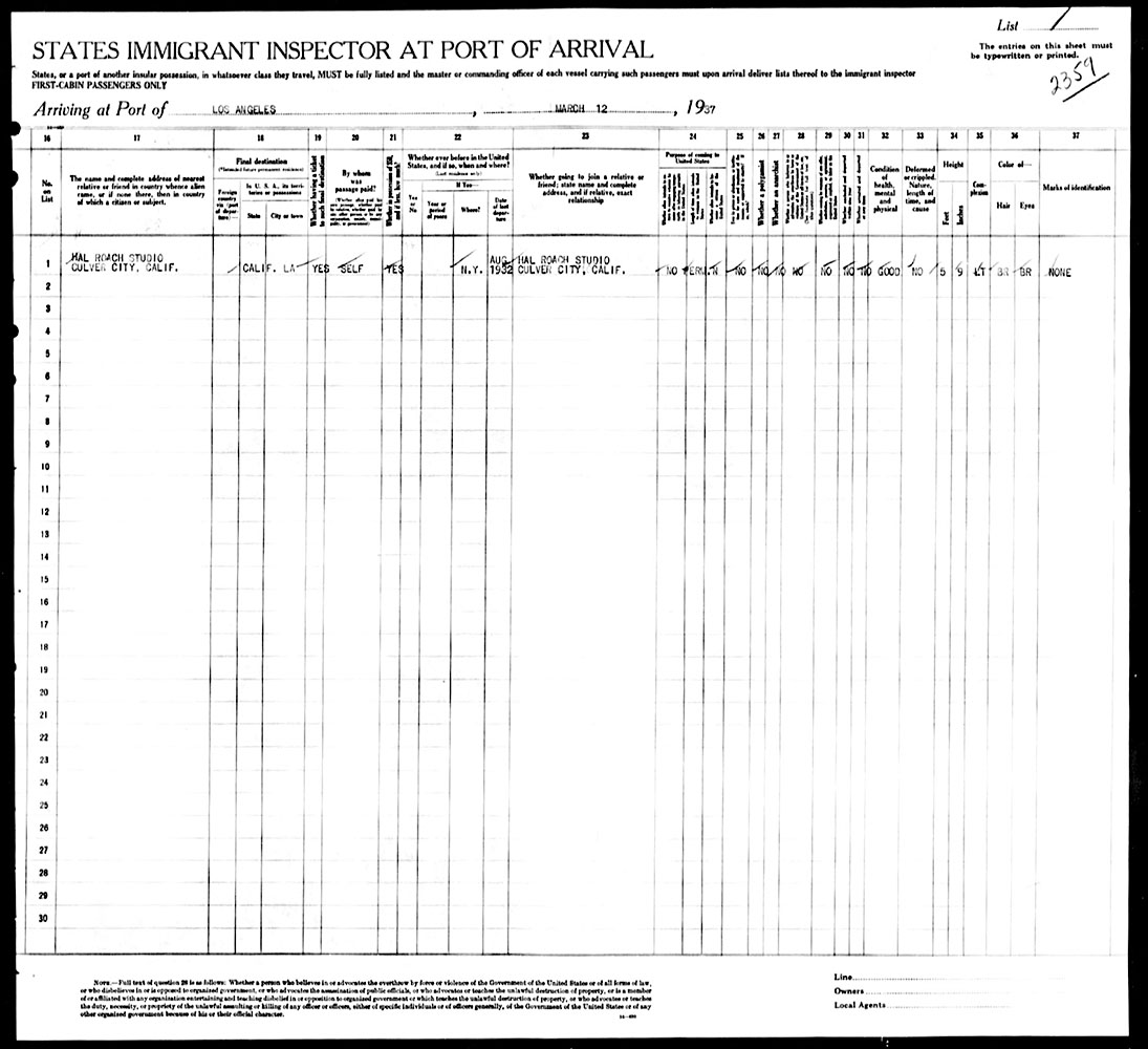 Los Angeles to New York Manifest - February 25, 1937