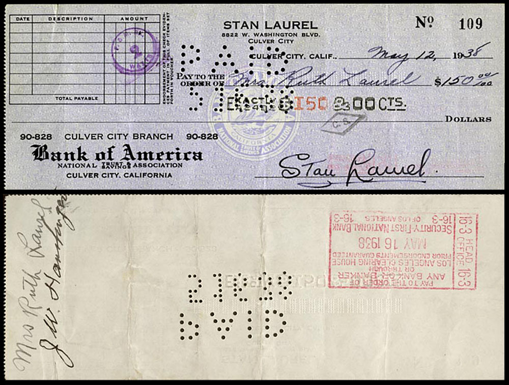 Personal Check from Stan to Ruth Laurel for $150 - May 12, 1938
