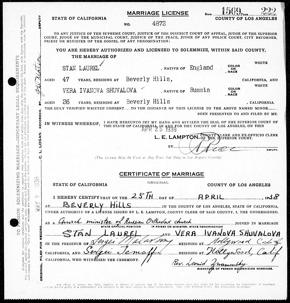 Marriage License Between Stan Laurel and Vera Ivanova Shuvalova