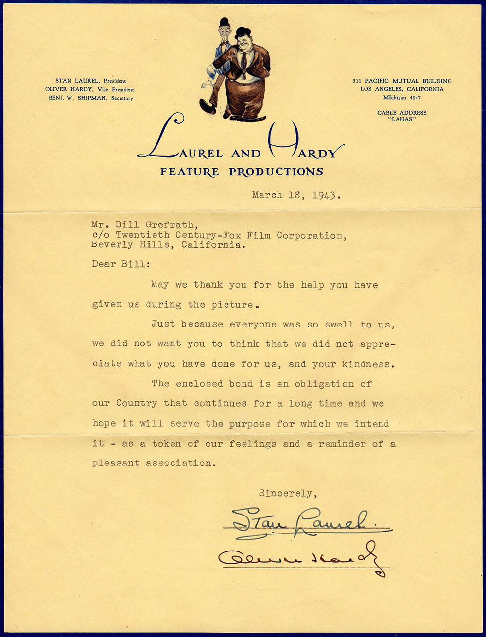 Rare Letter from both Stan Laurel & Oliver Hardy to Bill Grefrath