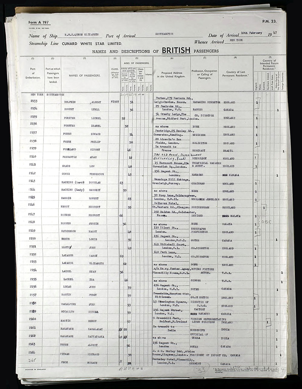 New York to Southampton Ship Manifest - February 10, 1947
