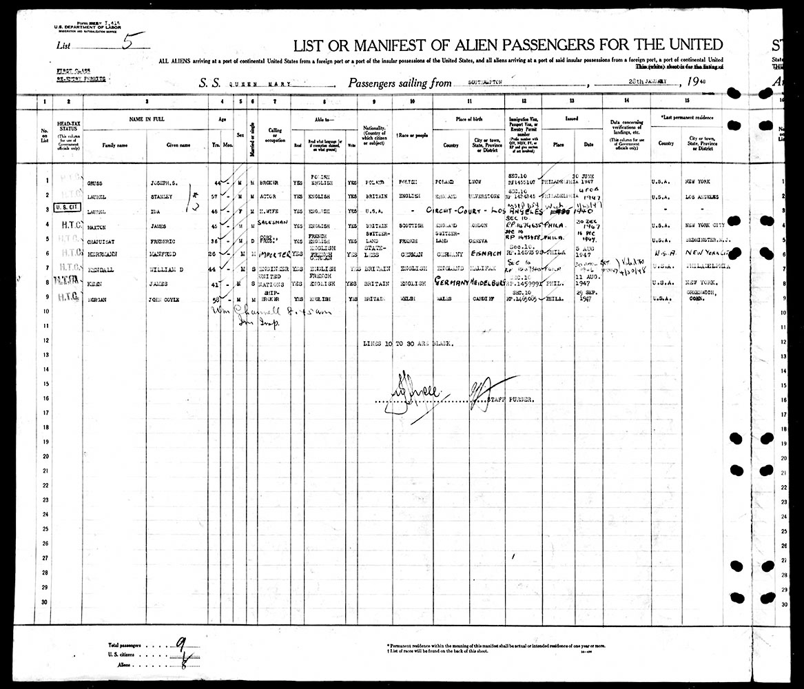 Southampton to New York Ship Manifest - January 28, 1948