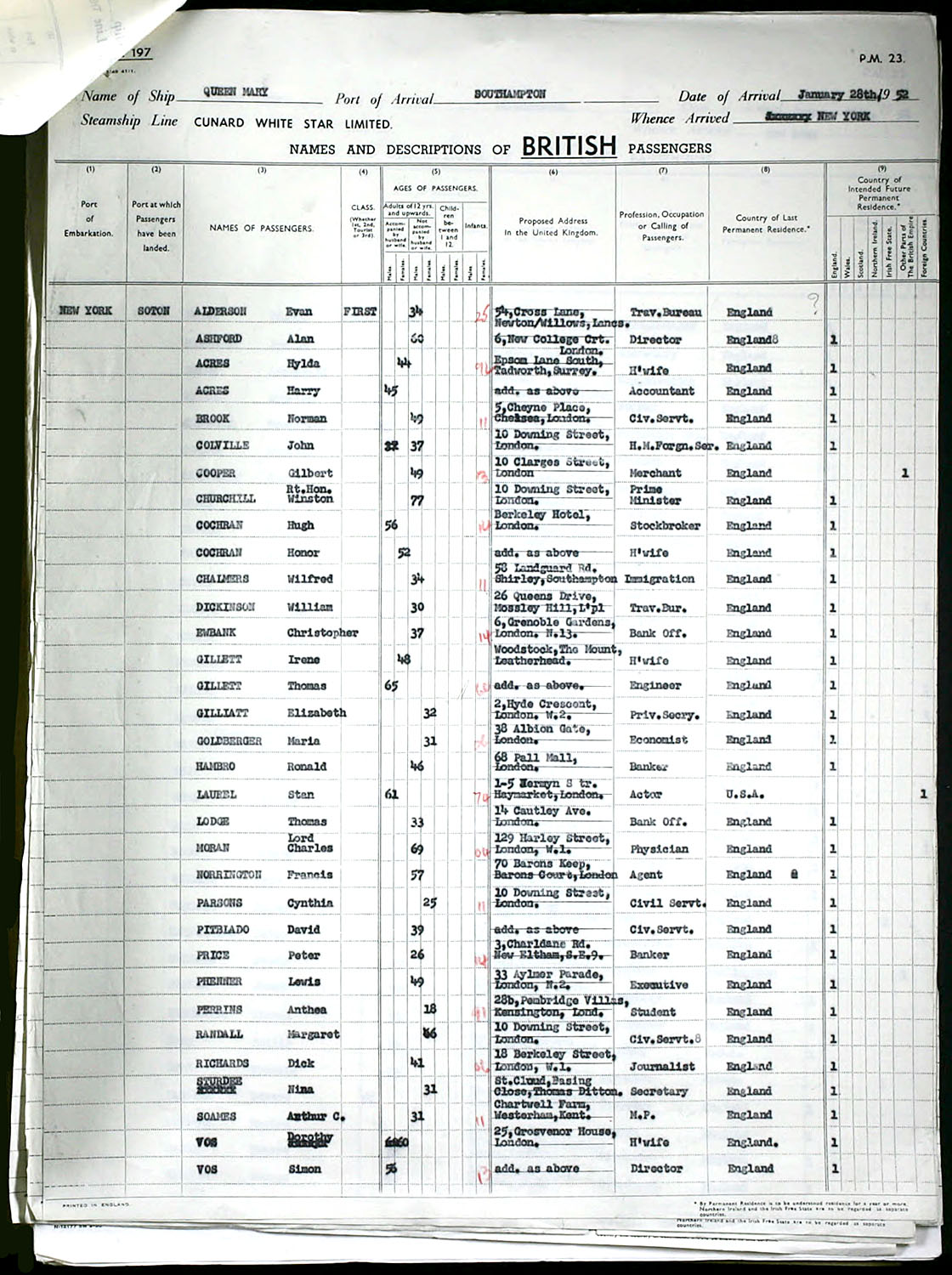 New York to Southampton Ship Manifest - January 28, 1952