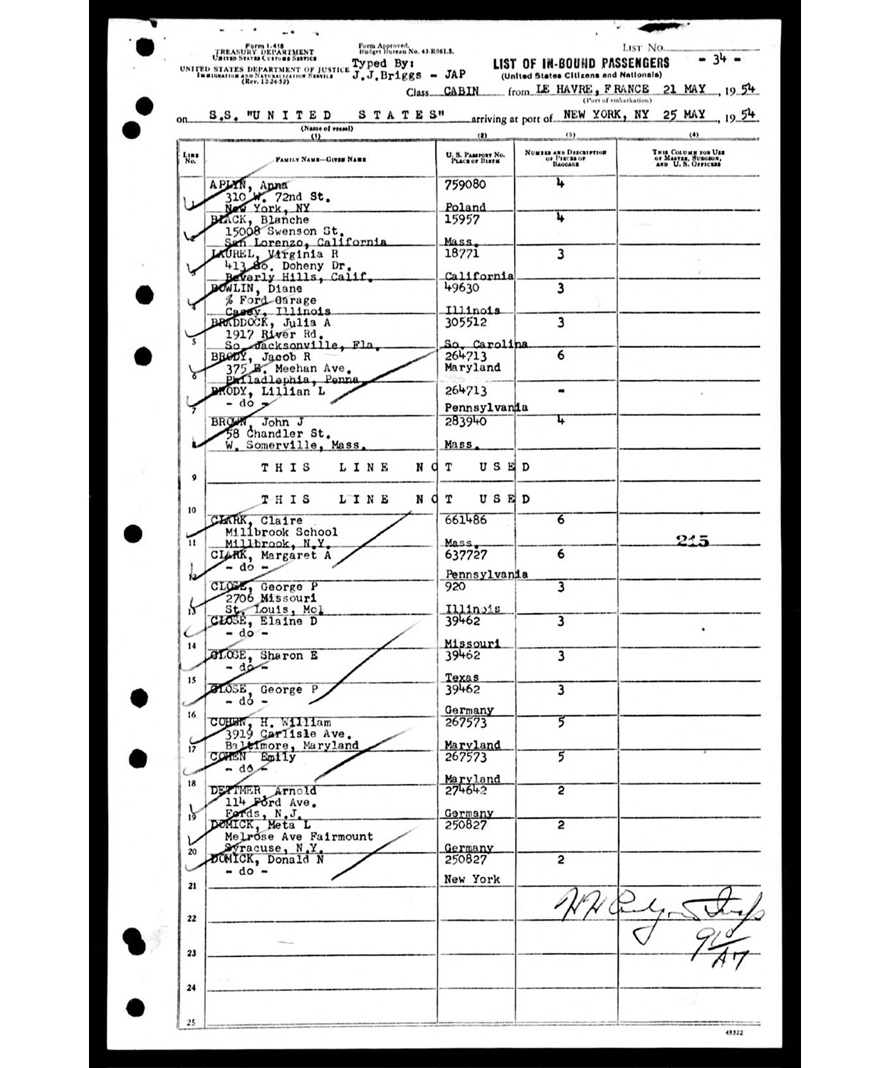 Southampton to New York Ship Manifest - May 25, 1954
