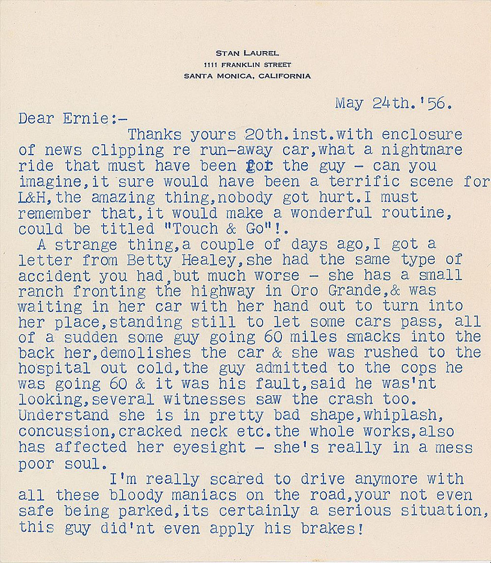 Letter from Stan Laurel to Ernie Murphy - March 24, 1956