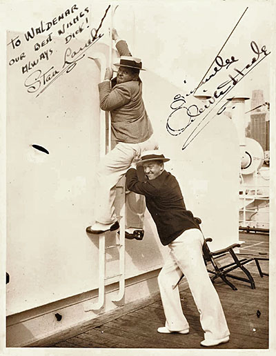 Stan and Ollie Autographed Aquitania Photo