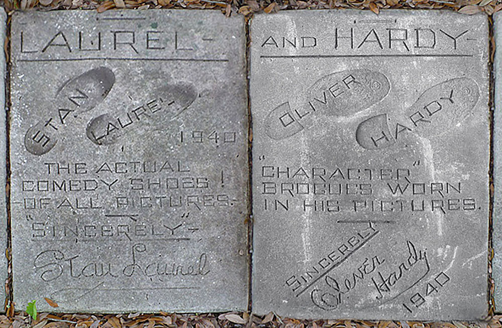 "Stan Laurel & Oliver Hardy Footprints from ""The Sidewalk of a Thousand Footprints."""