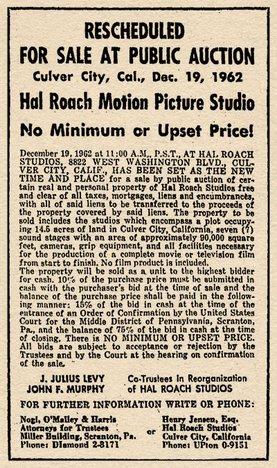 Hal Roach Auction Advertisement