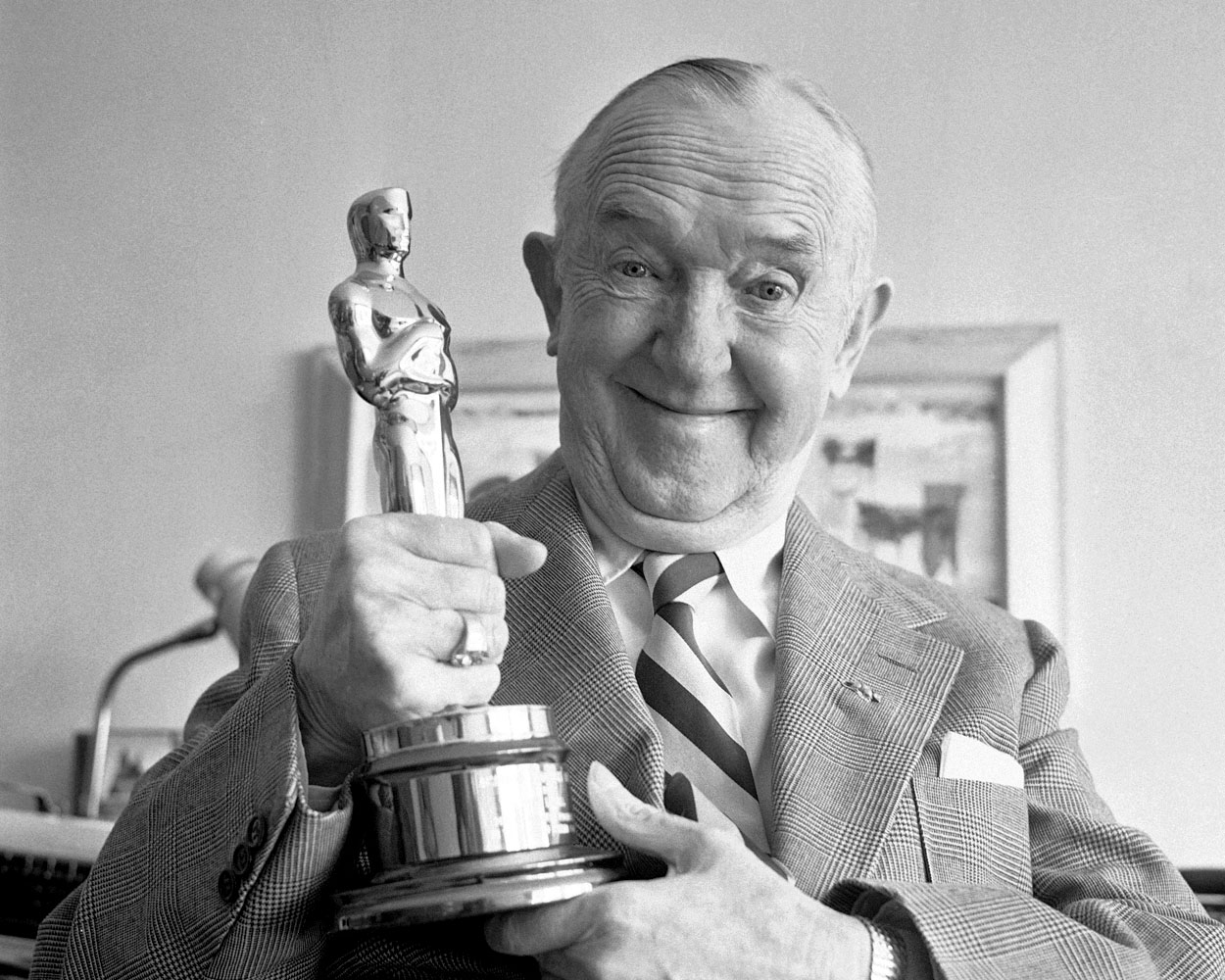 "Stan with his Oscar, a.k.a. ""Mr. Clean"""