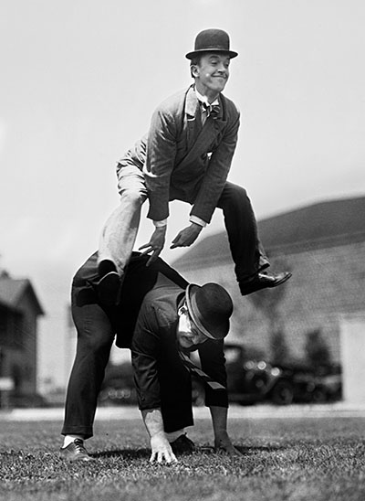 Stan and Ollie Play Leap Frog