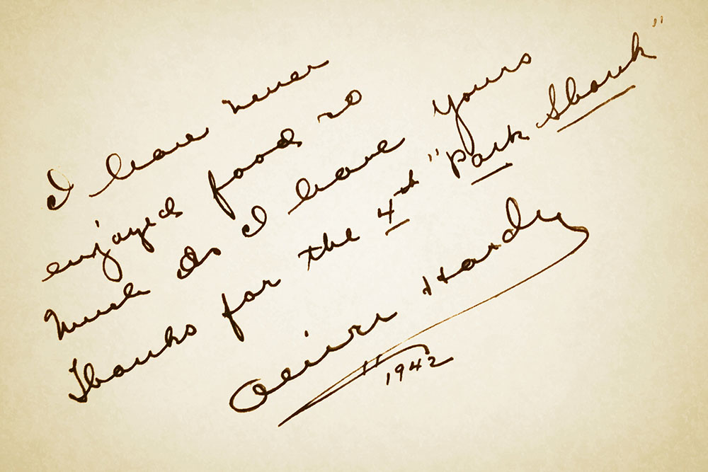 Note from Oliver Hardy to Mader's Restaurant