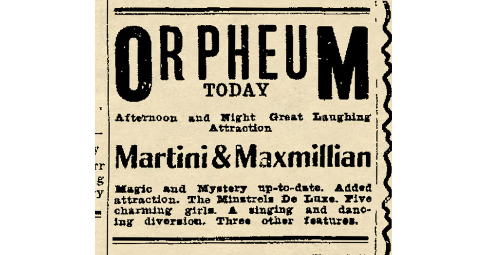 Martini and Maxmillian Advertisment