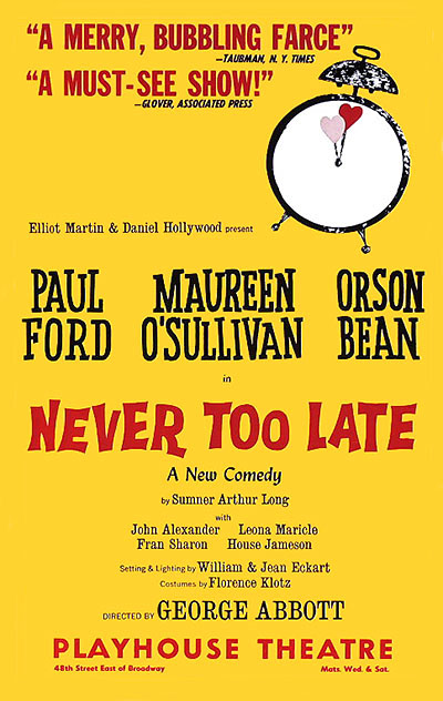 Never Too Late Playbill
