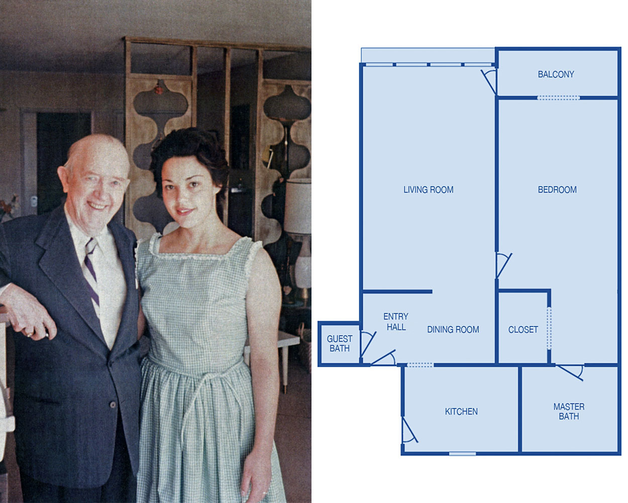 Stan and Pat Stowell in Stan's Living Room and a Floorplan for the Oceana Apartment